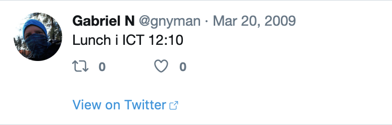 Tweet about my lunch from 2009