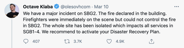 Octave Klaba tweeting about the fire at OVH