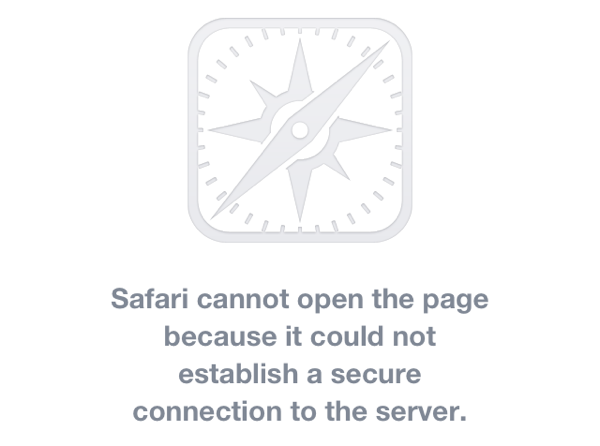 Screenshot of safari showing error