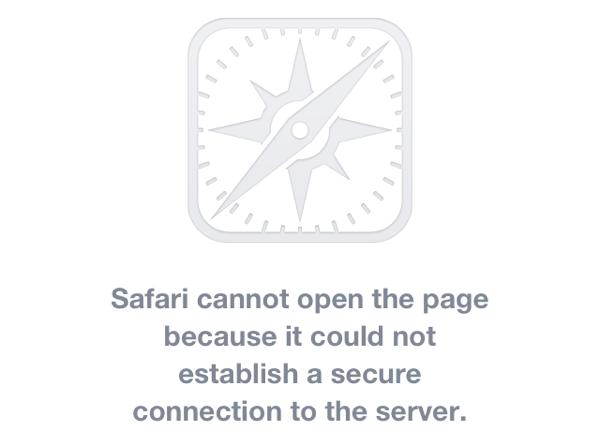 Screenshot of safari showing error